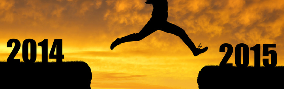 Amazing silhouette of man jumping at sunset toward 2014 © Creativa - Fotolia.com